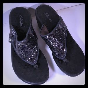 046d50a75 Nice Sequin Thon Wedge Clark s Grey Size 10